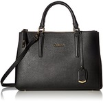 Amazon Calvin Klein Claudia Saffiano Satchel, Black/Gold