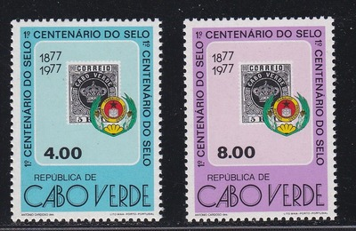Cape Verde # 384-385, 1st Stamp Centennial, Stamp on Stamp, NH, 1/2 Cat., HipStamp, США