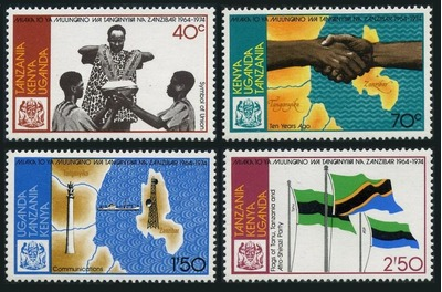 KUT 284-287,MNH.Michel 271-274. Union Tanganyika-Zanzibar,10th Ann.Maps,Flags., Ebay, США