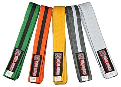 ROLL HARD Brand - Youth IBJJF Belts - All colors and sizes (Grey/White Stripe, M2), Amazon, США