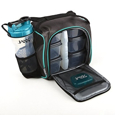 Fit & Fresh Jaxx FitPak Meal Prep Bag and Container Set with 6 Leakproof Portion Control Containers, Ice Pack and 28-ounce Jaxx Shaker Cup, Teal, Amazon, США