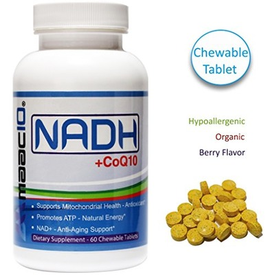 MAAC10 - NADH + CoQ10 Supplement For Fatigue, Energy, Mental Focus & NAD+ Support, 50mg PANMOL® NADH + 100mg CoQ10 (60 Tasty Chewable Tablets 2 per Serving)., Amazon, США