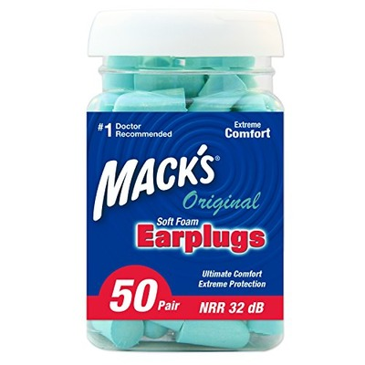 Mack's Original Soft Foam Earplugs, 50 Pair - 32dB Highest NRR, Comfortable Ear Plugs for Sleeping, Snoring, Work, Travel and Loud Events, Amazon, США