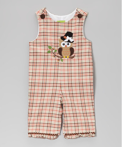 Fall Plaid Pilgrim Owl Ruffle Overalls - Infant & Toddler, Zulily, США