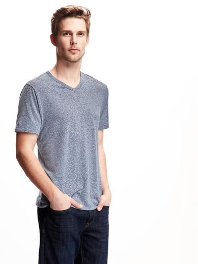 Linen-Blend V-Neck Tee for Men, OldNavy, США