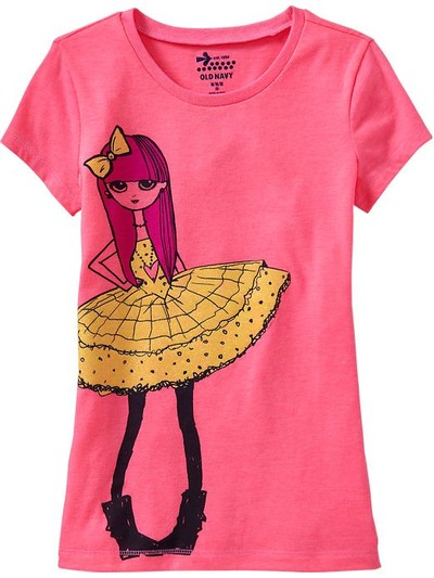 Girls Glitter-Graphic Tees, OldNavy, США