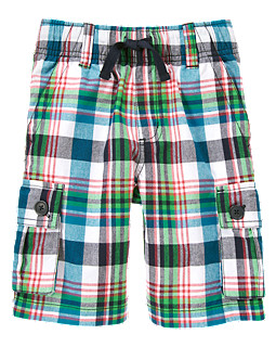 Drawstring Plaid Cargo Short, Gymboree, США