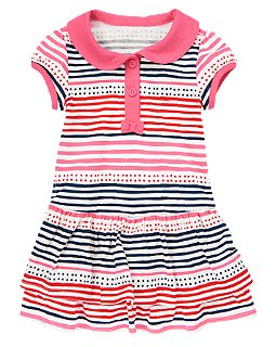 Dot Stripe Tiered Dress, Crazy8, США