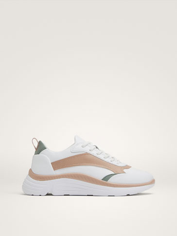 WHITE CONTRAST LEATHER TRAINERS, MassimoDutti, Испания