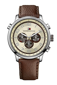 Men's Classic Brown Leather Strap Watch $145.00, TommyHilfiger, США