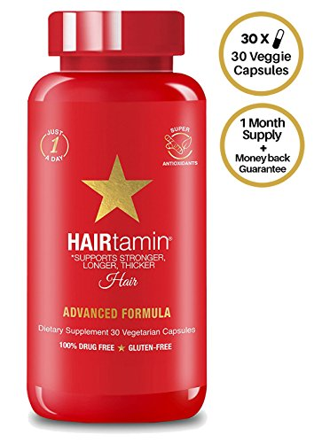HAIRtamin Fast Hair Growth Biotin Vitamins Gluten Free thirty Vegetarian Capsules Supports Stronger Longer Thicker Hair Reduces Hair Loss and Thinning All Natural Supplement one pack, Amazon, США