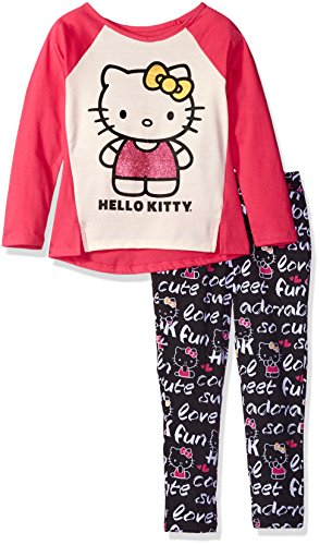 Hello Kitty Big Girls' Legging Set with Metallic Foil Printed Top and Allover Printed Legging, Cream, 8, Amazon, США