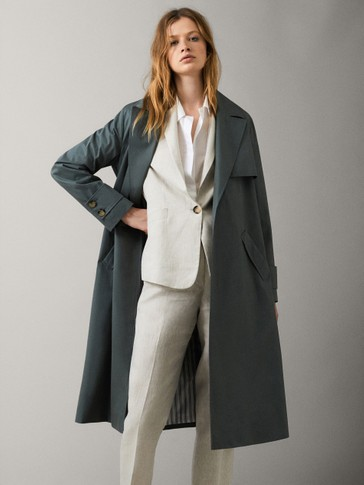 COTTON TRENCH COAT WITH BELT, MassimoDutti, Испания