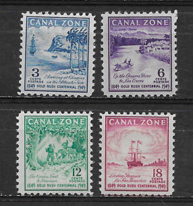 CANAL ZONE , US , 1949 , CENT. GOLD RUSH , SET OF 4 STAMPS , PERF , M/H, Ebay, США